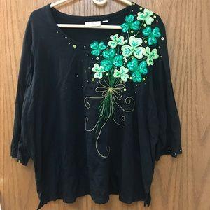 Quacker Factory embellished St Patrick's Day shirt